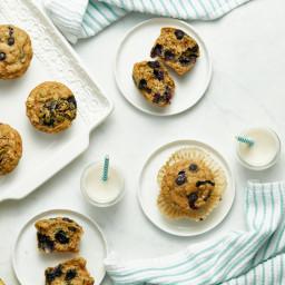 Blissful Blueberry Banana Spelt Muffins (vegan + refined s...